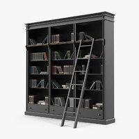 3D model black open library bookcase