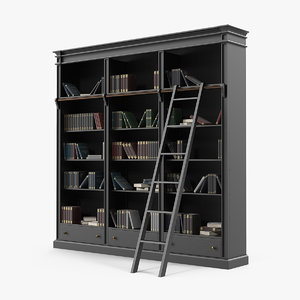 3D model black open library bookcase