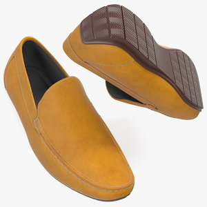 tan leather loafer shoes 3D model