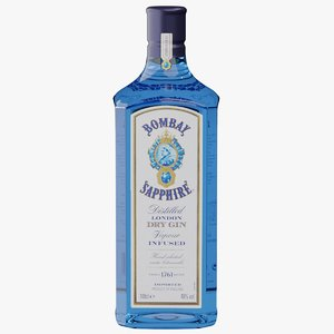 3D bottles realistic bombay sapphire