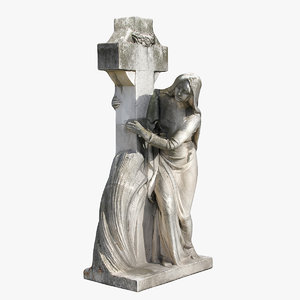 3D woman cross statue model