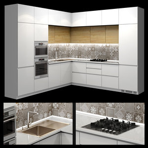 3D modern corner kitchen