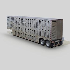 3D model livestock trailer 48ft