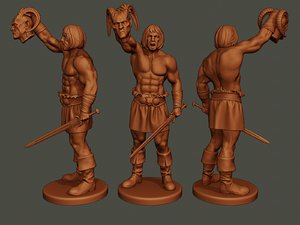 3D model male barbarian 2hsword cut