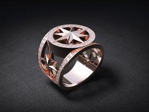 3D mens ring stones star