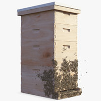wooden beehive brood box 3D model