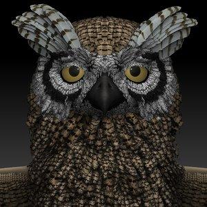 3D owl sculpt zbrush