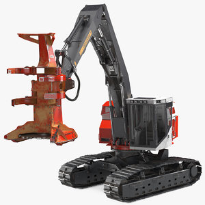 tracked feller buncher dirty 3D model