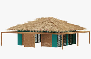 3D model bamboo shelter bungalo
