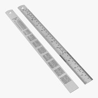 stainless steel ruler 30 inch 3D model