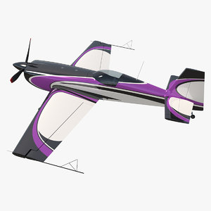 3D aerobatic monoplane aircraft rigged model