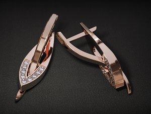 3D jewellery earrings diamonds model