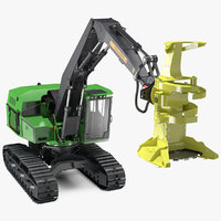 tracked feller buncher generic 3D