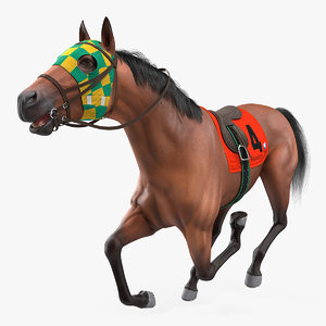 3D bay racehorse animal horse