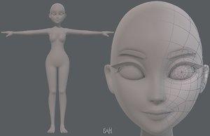 3D model base mesh woman 17