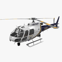 helicopter as-350 california highway 3D model