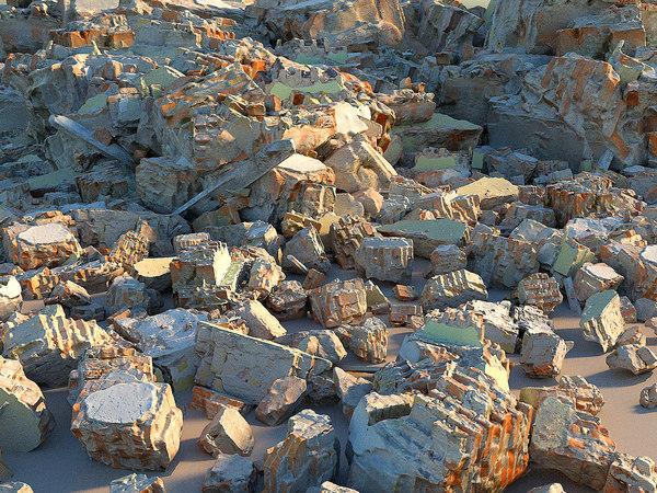 3D demolished building debris