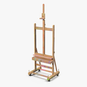 studio easel painting stained 3D model