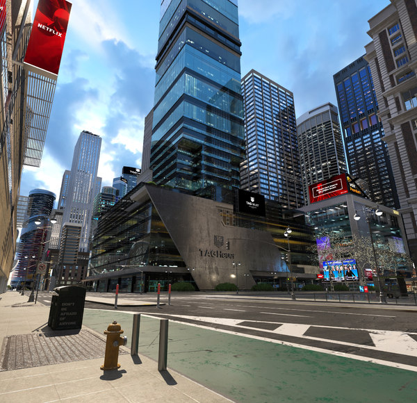 downtown day night scene 3D model