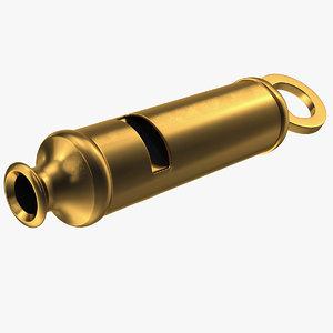 3D vintage metropolitan brass whistle model