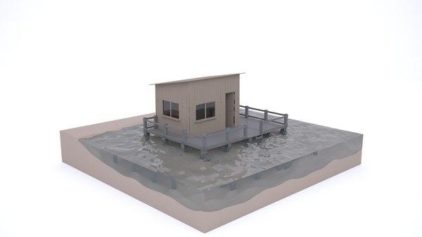 houses maldives sea 3D model