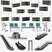 airport interior props 3D model