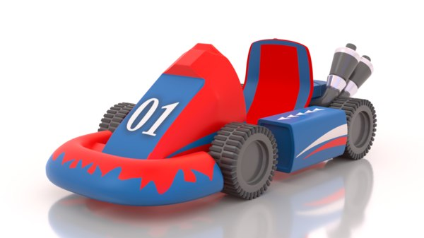 3D cute sports car cartoon model