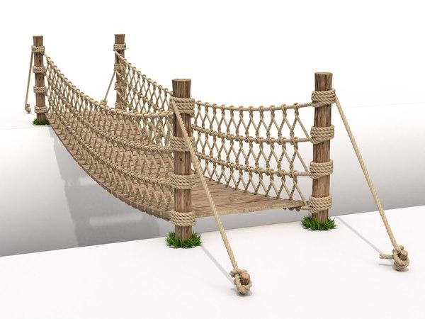 rope suspension bridge 3D