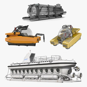 3D personal submarines 2 marine model
