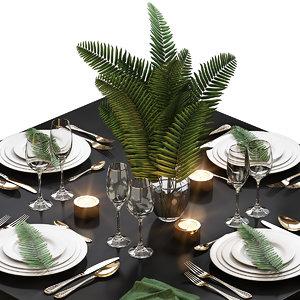 table setting 18 fern 3D model