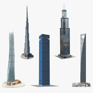 3D skyscrapers 3 model