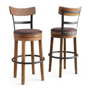 3D model wooden bar chair wood