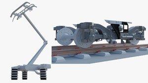 3D model train pantograph bogie