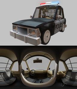 cartoon toon police 3D model