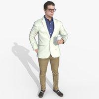 male casual suit - 3D