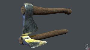 3D old steampunk axe model