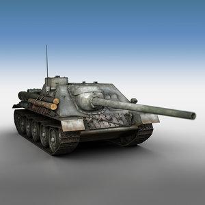 3D model su-100 - e414 soviet tank