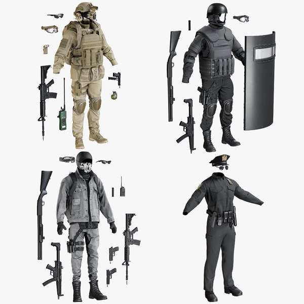 3D uniform terrorist swat police model