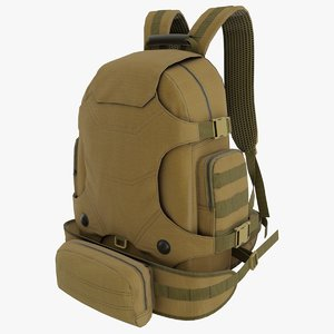 realistic camping backpack 3D model