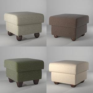 poofs set 4 items 3D model