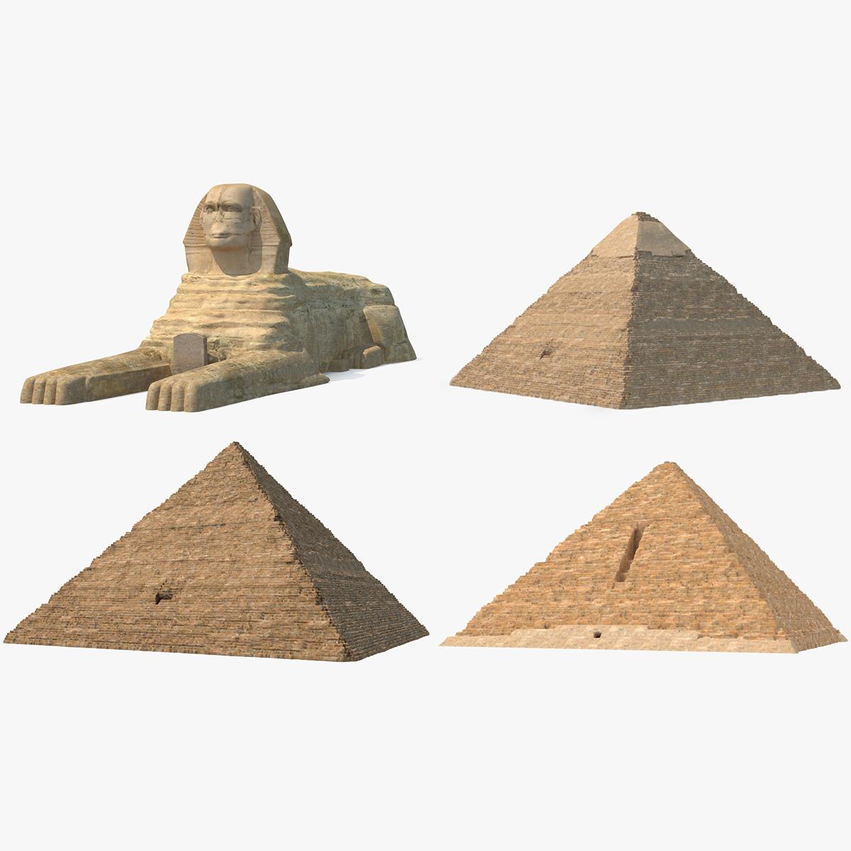 3D model great sphinx pyramids giza