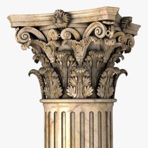 3D classic corinthian collumn
