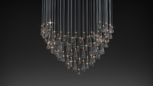 3D glass drops haida pendant model