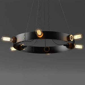 vintage loft light chandelier 3D model