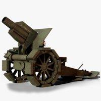 morser m10 cannon ww1 3D model