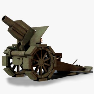 morser m10 cannon ww1 3D model
