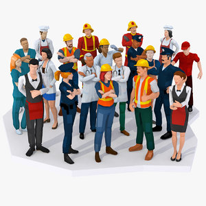3D character people professions rigged model