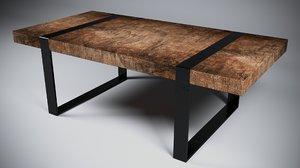 3D modern table wood