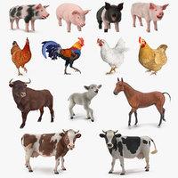 rigged farm animals big 3D model