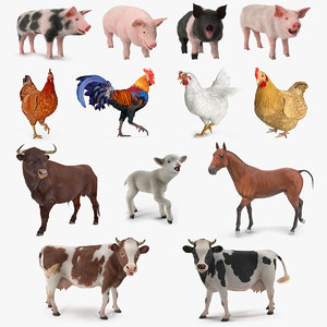 rigged farm animals big 3D model